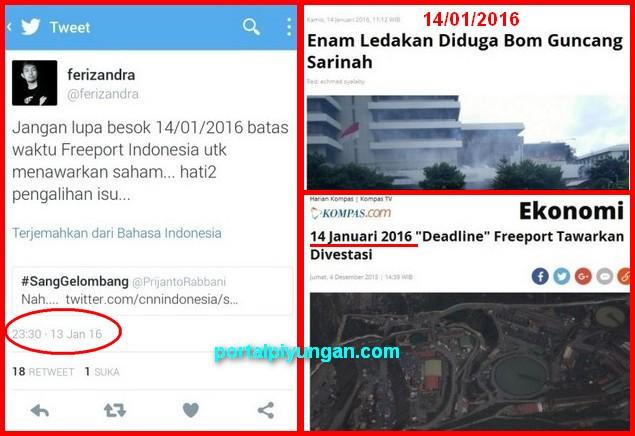 "Bertepatan ""Deadline"" Freeport, Bom Meledak di Jakarta"