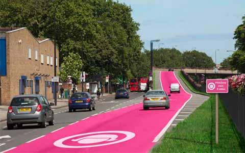 Jalanan Unik Berwarna Pink Jalur